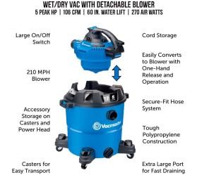 Профессиональный пылесос Vacmaster VBV1210